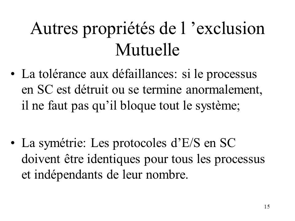 15 Autres propriétés de l exclusion Mutuelle La tolérance aux défaillances: si le processus en SC est détruit ou se termine anormalement, il ne faut p