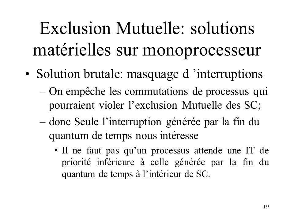19 Exclusion Mutuelle: solutions matérielles sur monoprocesseur Solution brutale: masquage d interruptions –On empêche les commutations de processus q