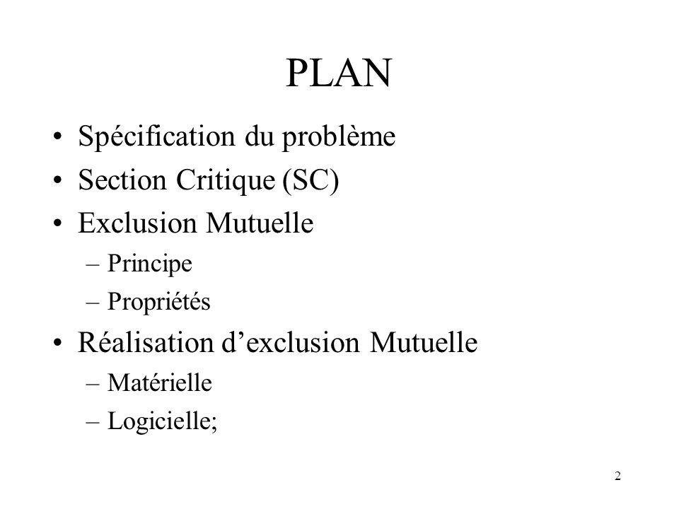 2 PLAN Spécification du problème Section Critique (SC) Exclusion Mutuelle –Principe –Propriétés Réalisation dexclusion Mutuelle –Matérielle –Logiciell