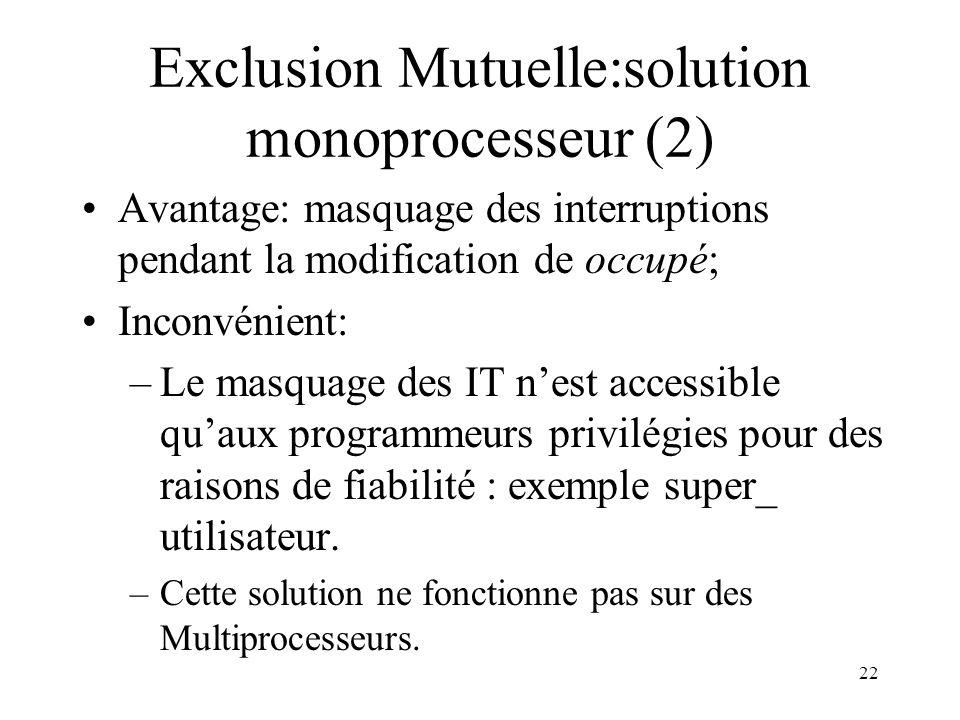 22 Exclusion Mutuelle:solution monoprocesseur (2) Avantage: masquage des interruptions pendant la modification de occupé; Inconvénient: –Le masquage d