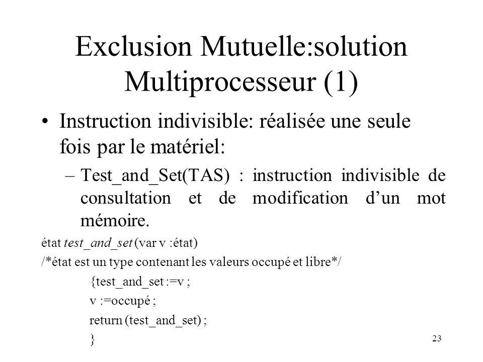 23 Exclusion Mutuelle:solution Multiprocesseur (1) Instruction indivisible: réalisée une seule fois par le matériel: –Test_and_Set(TAS) : instruction