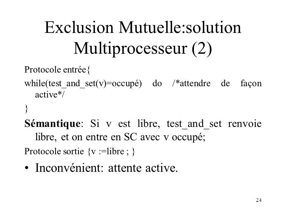 24 Exclusion Mutuelle:solution Multiprocesseur (2) Protocole entrée{ while(test_and_set(v)=occupé) do /*attendre de façon active*/ } Sémantique: Si v