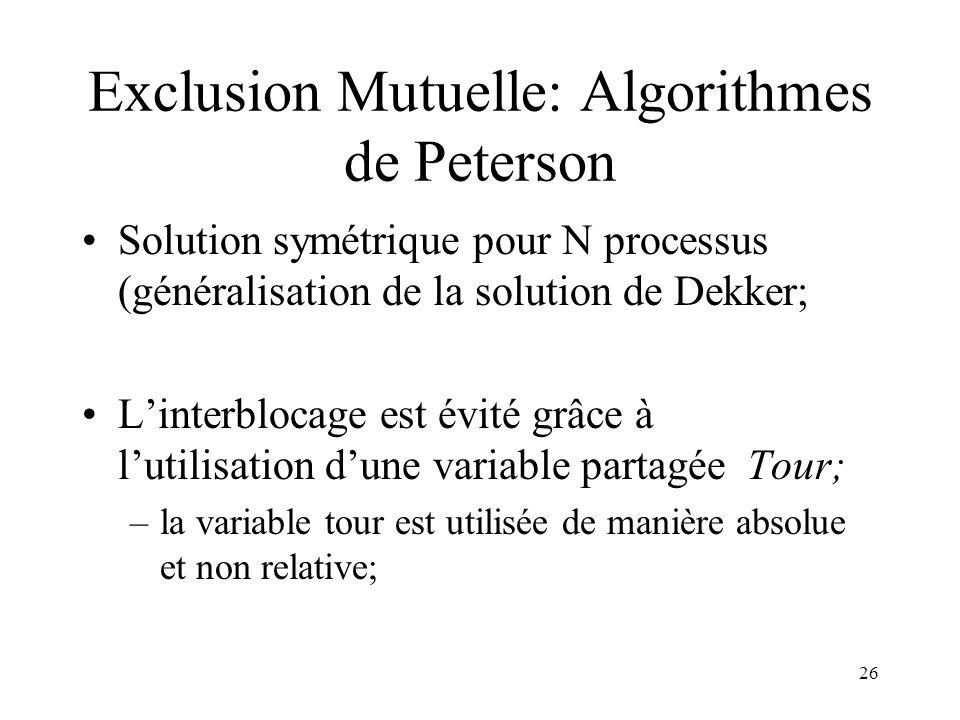 26 Exclusion Mutuelle: Algorithmes de Peterson Solution symétrique pour N processus (généralisation de la solution de Dekker; Linterblocage est évité