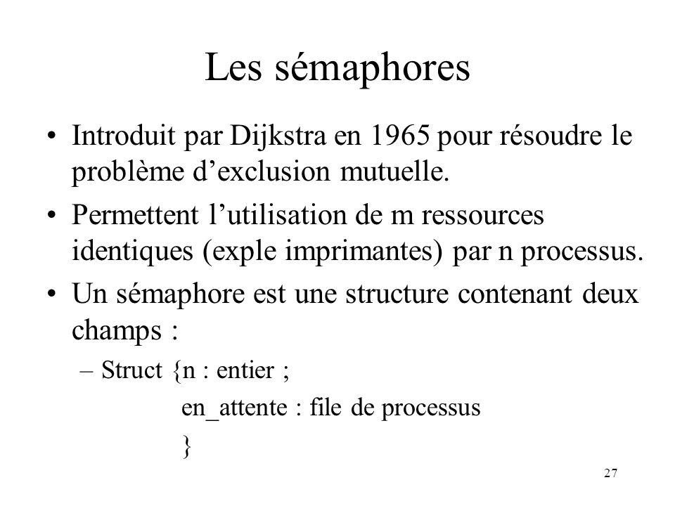 27 Les sémaphores Introduit par Dijkstra en 1965 pour résoudre le problème dexclusion mutuelle. Permettent lutilisation de m ressources identiques (ex