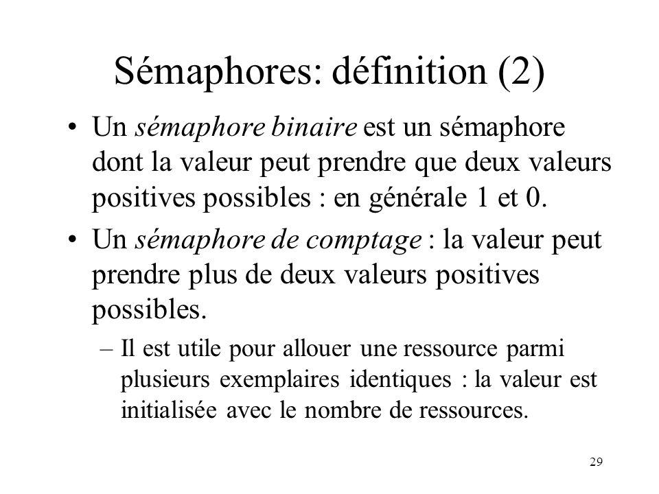 29 Sémaphores: définition (2) Un sémaphore binaire est un sémaphore dont la valeur peut prendre que deux valeurs positives possibles : en générale 1 e