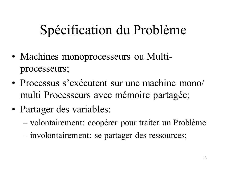 3 Spécification du Problème Machines monoprocesseurs ou Multi- processeurs; Processus sexécutent sur une machine mono/ multi Processeurs avec mémoire