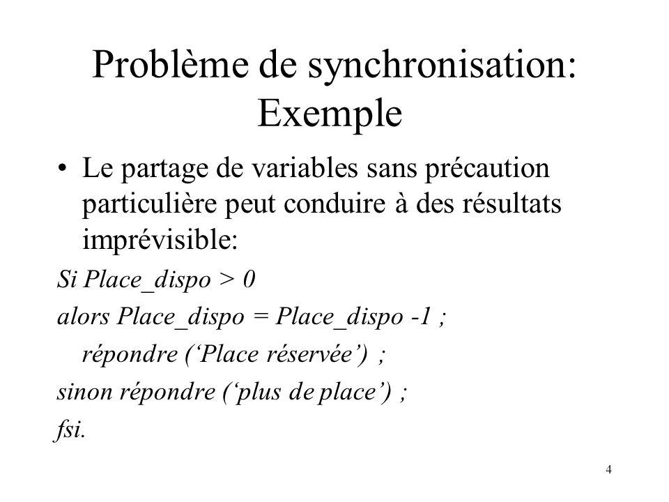 4 Problème de synchronisation: Exemple Le partage de variables sans précaution particulière peut conduire à des résultats imprévisible: Si Place_dispo