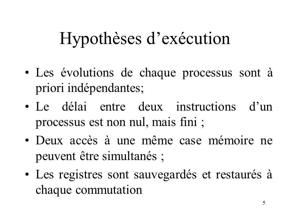 5 Hypothèses dexécution Les évolutions de chaque processus sont à priori indépendantes; Le délai entre deux instructions dun processus est non nul, ma