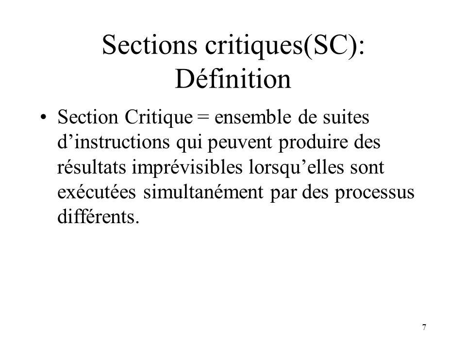 7 Sections critiques(SC): Définition Section Critique = ensemble de suites dinstructions qui peuvent produire des résultats imprévisibles lorsquelles