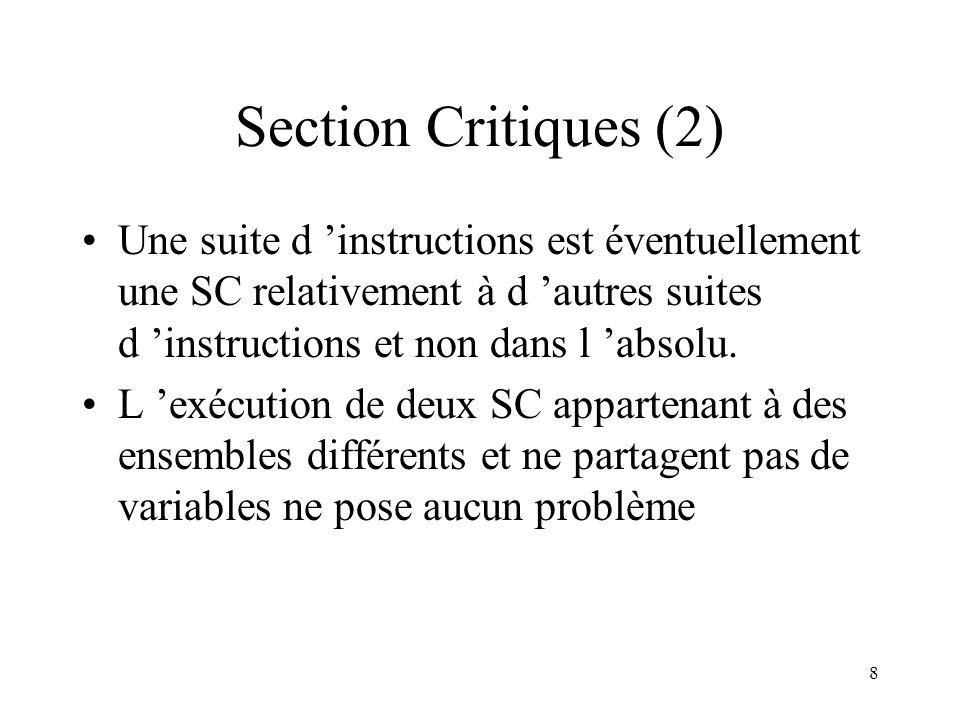 8 Section Critiques (2) Une suite d instructions est éventuellement une SC relativement à d autres suites d instructions et non dans l absolu. L exécu