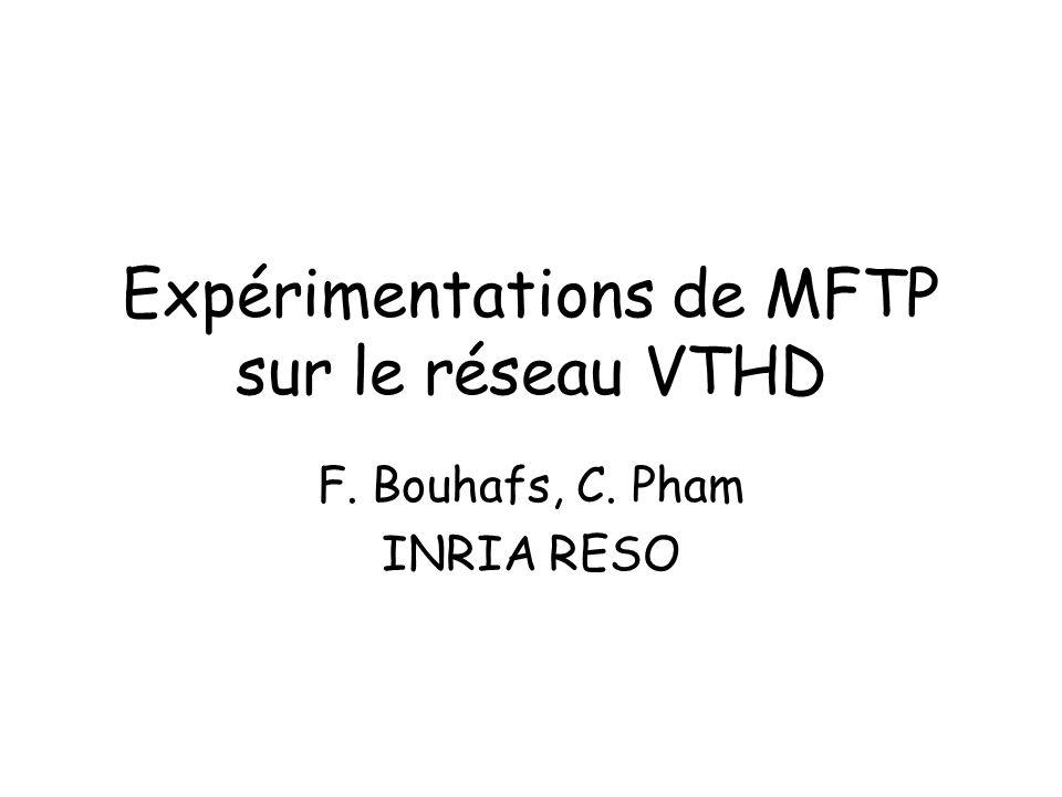 Expérimentations de MFTP sur le réseau VTHD F. Bouhafs, C. Pham INRIA RESO