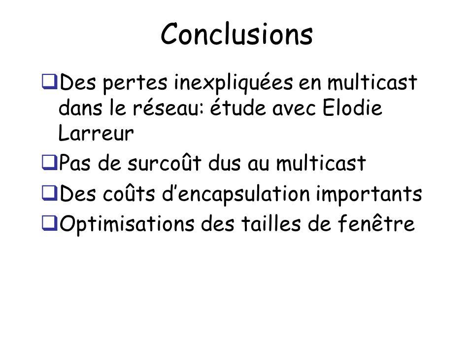 Conclusions Des pertes inexpliquées en multicast dans le réseau: étude avec Elodie Larreur Pas de surcoût dus au multicast Des coûts dencapsulation importants Optimisations des tailles de fenêtre