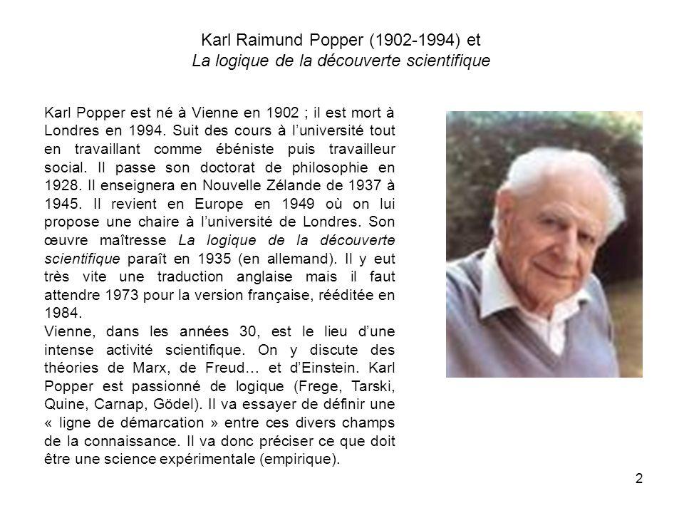 2 Karl Raimund Popper (1902-1994) et La logique de la découverte scientifique Karl Popper est né à Vienne en 1902 ; il est mort à Londres en 1994.