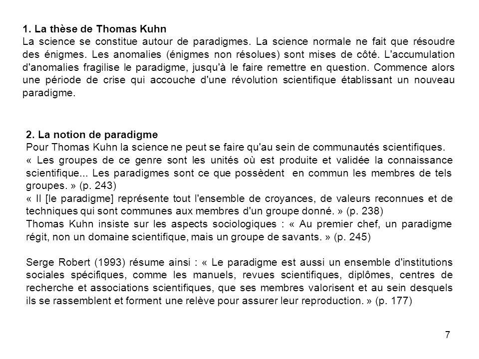 7 1. La thèse de Thomas Kuhn La science se constitue autour de paradigmes.