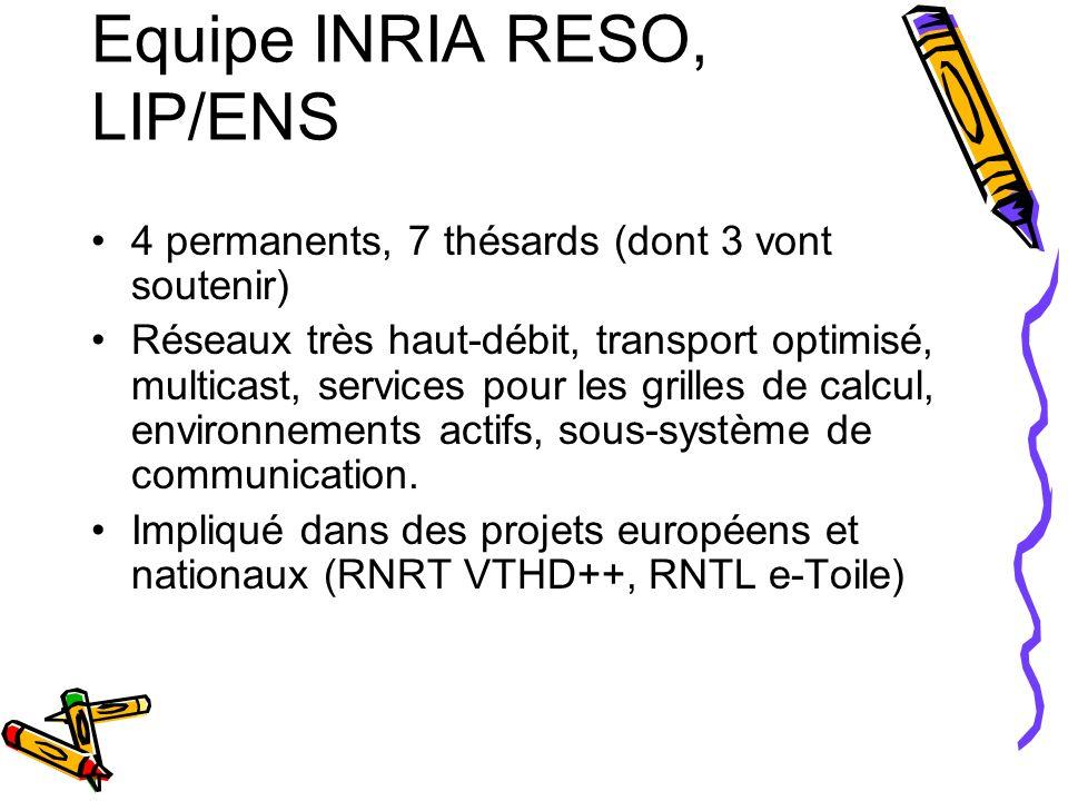 Equipe INRIA RESO, LIP/ENS 4 permanents, 7 thésards (dont 3 vont soutenir) Réseaux très haut-débit, transport optimisé, multicast, services pour les g