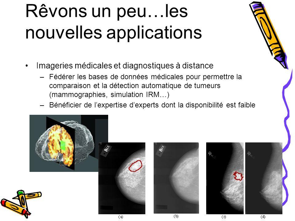 Rêvons un peu…les nouvelles applications Imageries médicales et diagnostiques à distance –Fédérer les bases de données médicales pour permettre la com