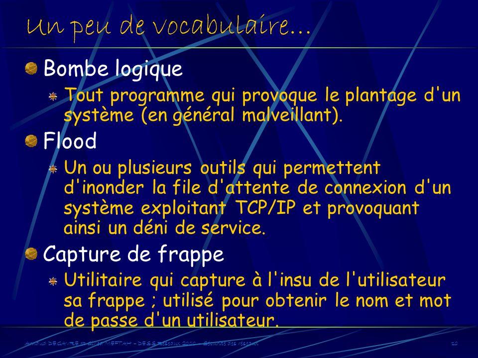Arnaud DEGAVRE et Gihed MEFTAH – DESS Réseaux 2000 – Sécurité des réseaux10 Un peu de vocabulaire… Bombe logique Tout programme qui provoque le planta