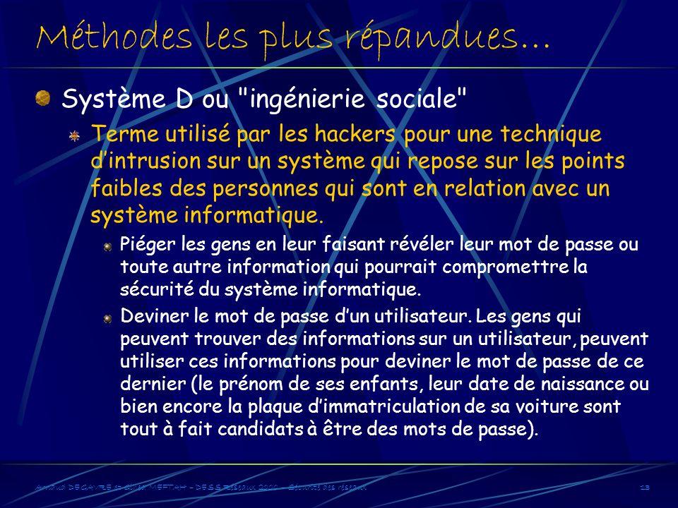 Arnaud DEGAVRE et Gihed MEFTAH – DESS Réseaux 2000 – Sécurité des réseaux13 Méthodes les plus répandues… Système D ou
