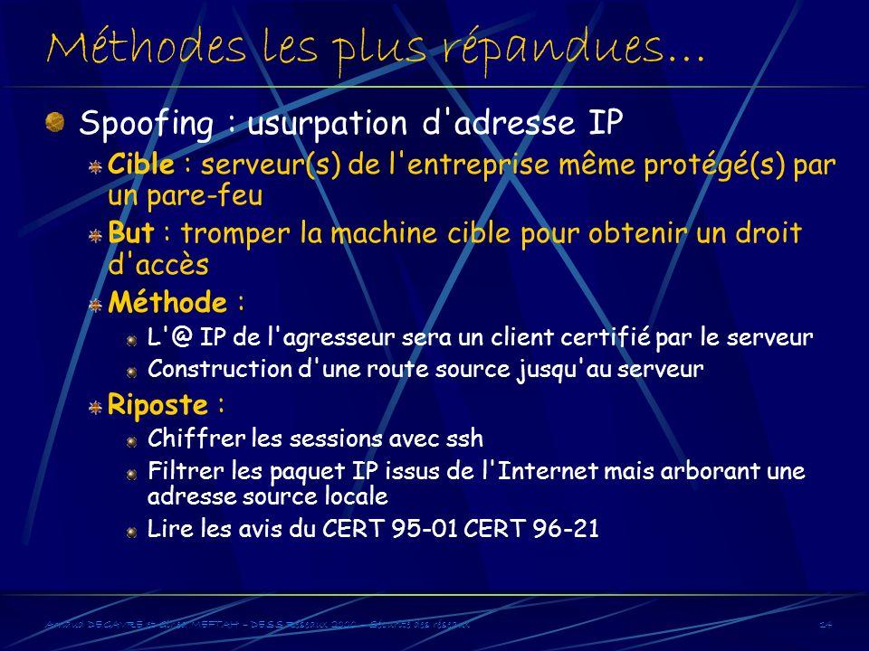 Arnaud DEGAVRE et Gihed MEFTAH – DESS Réseaux 2000 – Sécurité des réseaux14 Méthodes les plus répandues… Spoofing : usurpation d'adresse IP Cible : se