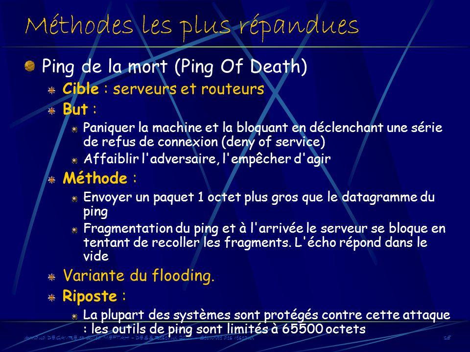 Arnaud DEGAVRE et Gihed MEFTAH – DESS Réseaux 2000 – Sécurité des réseaux15 Méthodes les plus répandues Ping de la mort (Ping Of Death) Cible : serveu