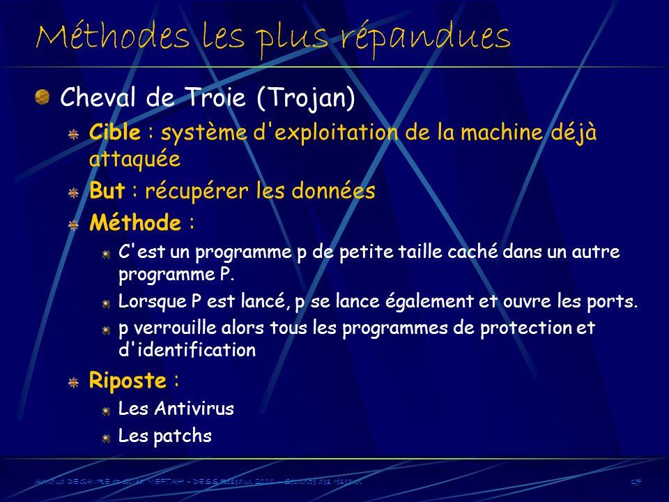 Arnaud DEGAVRE et Gihed MEFTAH – DESS Réseaux 2000 – Sécurité des réseaux17 Méthodes les plus répandues Cheval de Troie (Trojan) Cible : système d'exp