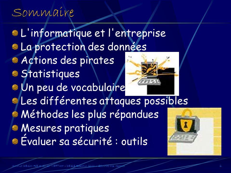 Arnaud DEGAVRE et Gihed MEFTAH – DESS Réseaux 2000 – Sécurité des réseaux2 Sommaire L'informatique et l'entreprise La protection des données Actions d