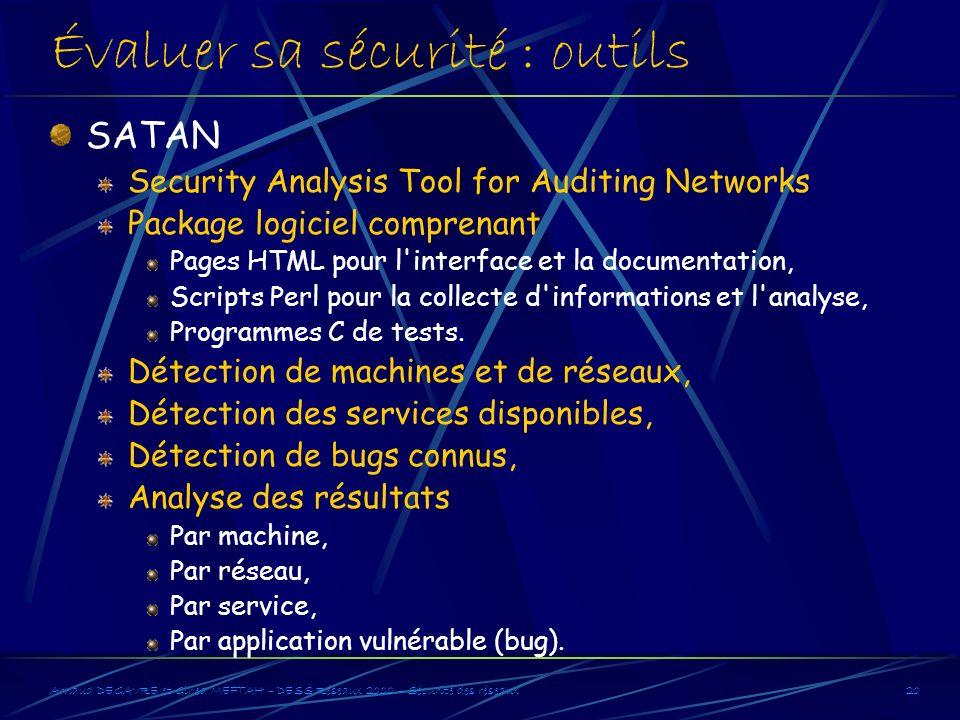 Arnaud DEGAVRE et Gihed MEFTAH – DESS Réseaux 2000 – Sécurité des réseaux20 Évaluer sa sécurité : outils SATAN Security Analysis Tool for Auditing Net