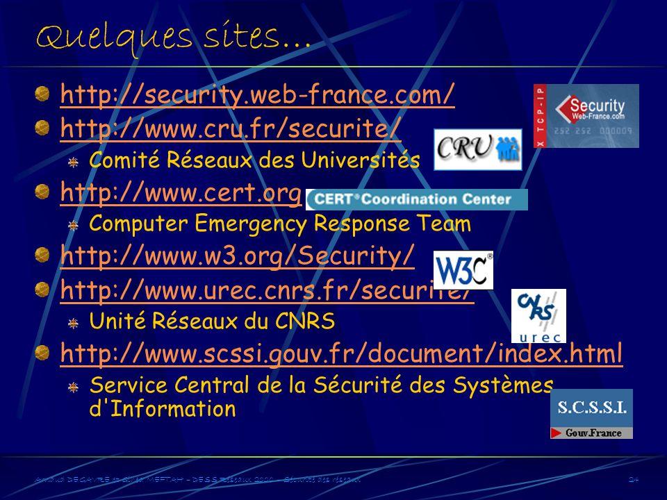 Arnaud DEGAVRE et Gihed MEFTAH – DESS Réseaux 2000 – Sécurité des réseaux24 Quelques sites… http://security.web-france.com/ http://www.cru.fr/securite