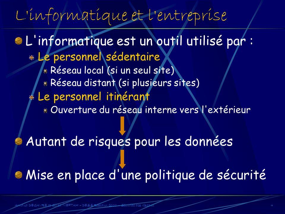 Arnaud DEGAVRE et Gihed MEFTAH – DESS Réseaux 2000 – Sécurité des réseaux4 L'informatique et l'entreprise L'informatique est un outil utilisé par : Le
