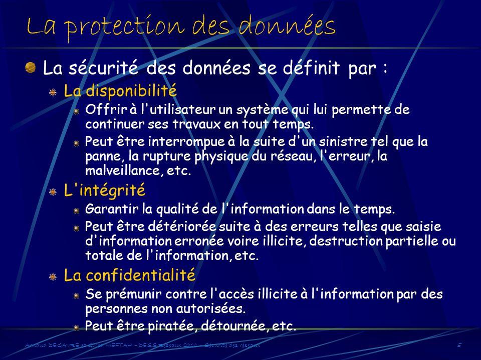 Arnaud DEGAVRE et Gihed MEFTAH – DESS Réseaux 2000 – Sécurité des réseaux5 La protection des données La sécurité des données se définit par : La dispo