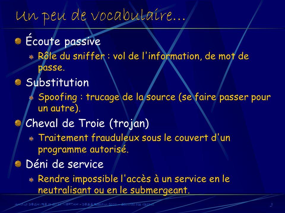 Arnaud DEGAVRE et Gihed MEFTAH – DESS Réseaux 2000 – Sécurité des réseaux9 Un peu de vocabulaire… Écoute passive Rôle du sniffer : vol de l'informatio