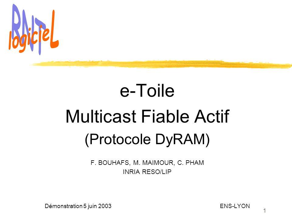 1 e-Toile Multicast Fiable Actif (Protocole DyRAM) F. BOUHAFS, M. MAIMOUR, C. PHAM INRIA RESO/LIP Démonstration 5 juin 2003 ENS-LYON
