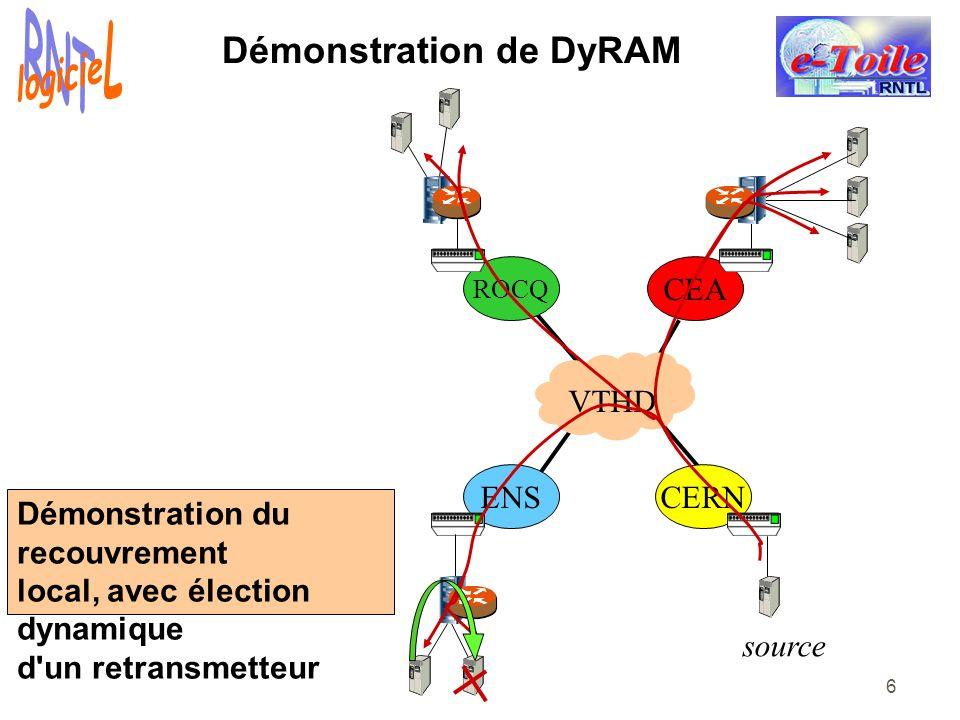 6 Démonstration de DyRAM ENSCERN CEA ROCQ VTHD source Démonstration du recouvrement local, avec élection dynamique d'un retransmetteur