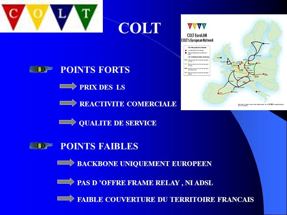 COLT PRIX DES LS POINTS FORTS POINTS FAIBLES REACTIVITE COMERCIALE QUALITE DE SERVICE BACKBONE UNIQUEMENT EUROPEEN PAS D OFFRE FRAME RELAY, NI ADSL FA