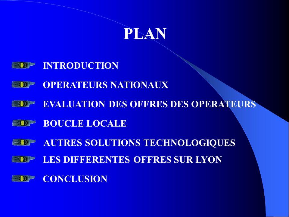 PLAN INTRODUCTION OPERATEURS NATIONAUX EVALUATION DES OFFRES DES OPERATEURS BOUCLE LOCALE AUTRES SOLUTIONS TECHNOLOGIQUES LES DIFFERENTES OFFRES SUR L