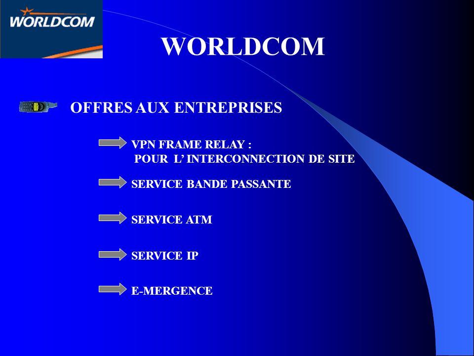 WORLDCOM OFFRES AUX ENTREPRISES VPN FRAME RELAY : POUR L INTERCONNECTION DE SITE SERVICE BANDE PASSANTE SERVICE ATM SERVICE IP E-MERGENCE
