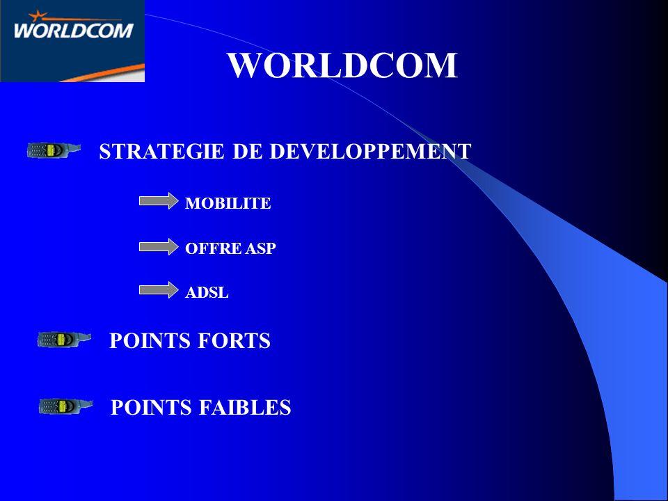 WORLDCOM STRATEGIE DE DEVELOPPEMENT MOBILITE OFFRE ASP ADSL POINTS FORTS POINTS FAIBLES