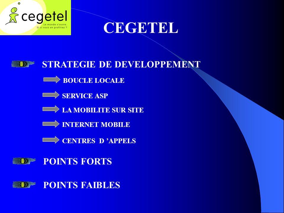 CEGETEL STRATEGIE DE DEVELOPPEMENT BOUCLE LOCALE SERVICE ASP LA MOBILITE SUR SITE INTERNET MOBILE CENTRES D APPELS POINTS FORTS POINTS FAIBLES