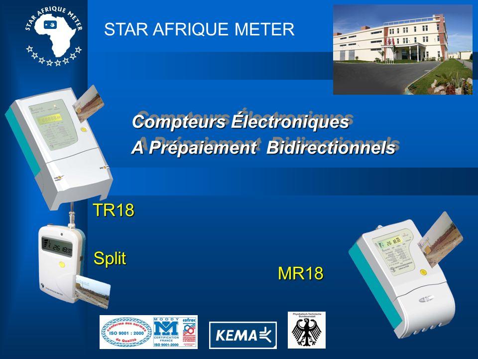 Caractéristiques 1 – Classe de Précision:Classe 1,0 2 – Standards:CEI 62053-21(2003) & CEI 62052-11(2003) 3 – Voltage Nominal:MR18 220 V – TR18 3x220 (380) 4 – Fréquence:50 Hz ou 60 Hz 5 – Consommation: Circuit de Tension: 1,0 W Circuit de Courant: 0,1 VA 6 – Courant de départ:0,4% lb 7 – Afficheur Digital:7 Caractères (2 décimaux) 8 – Indice de Protection:IP54 9 – Durée de vie:10 ans 10 – Dimensions: MR18 : 211 mm x 126 mm x 61 mm TR18 : 300 mm x 180 mm x 85 mm 11 – Poids: MR18 : 0,8 Kg TR18 : 2,4 Kg