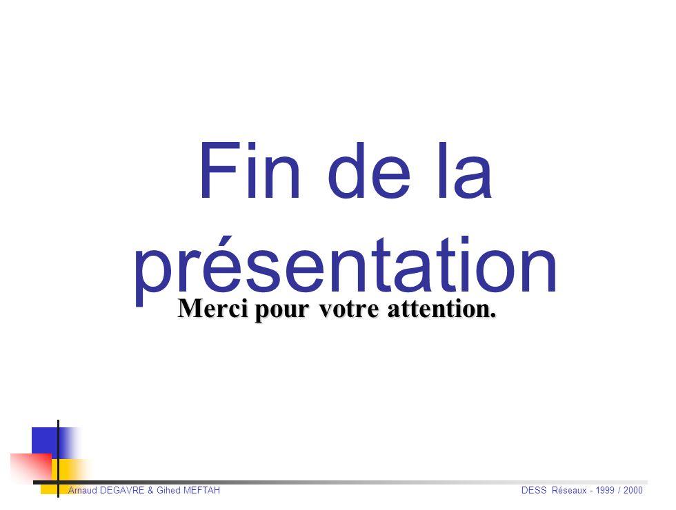 Arnaud DEGAVRE & Gihed MEFTAH DESS Réseaux - 1999 / 2000 Le futur Prototype en test : disque dur Cheetah de Seagate + adaptateur Fibre Channel Tachyon