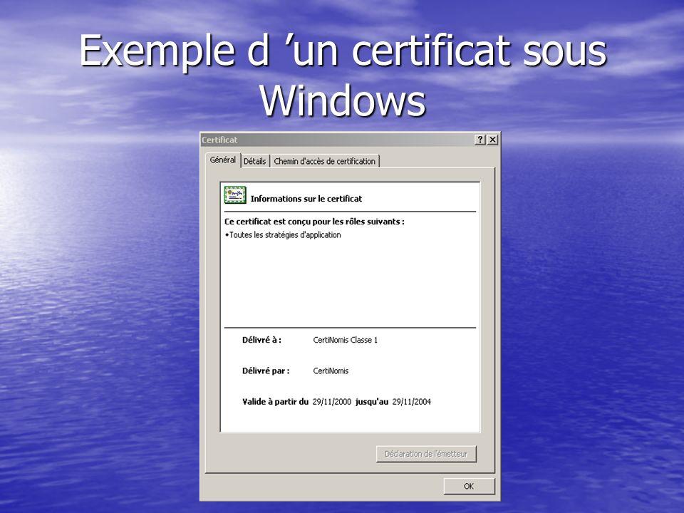 Protection du certificat Informations du certificat Clef privée de lautorité de certification Informations du certificat Hash chiffré SIGNATURE Les ch