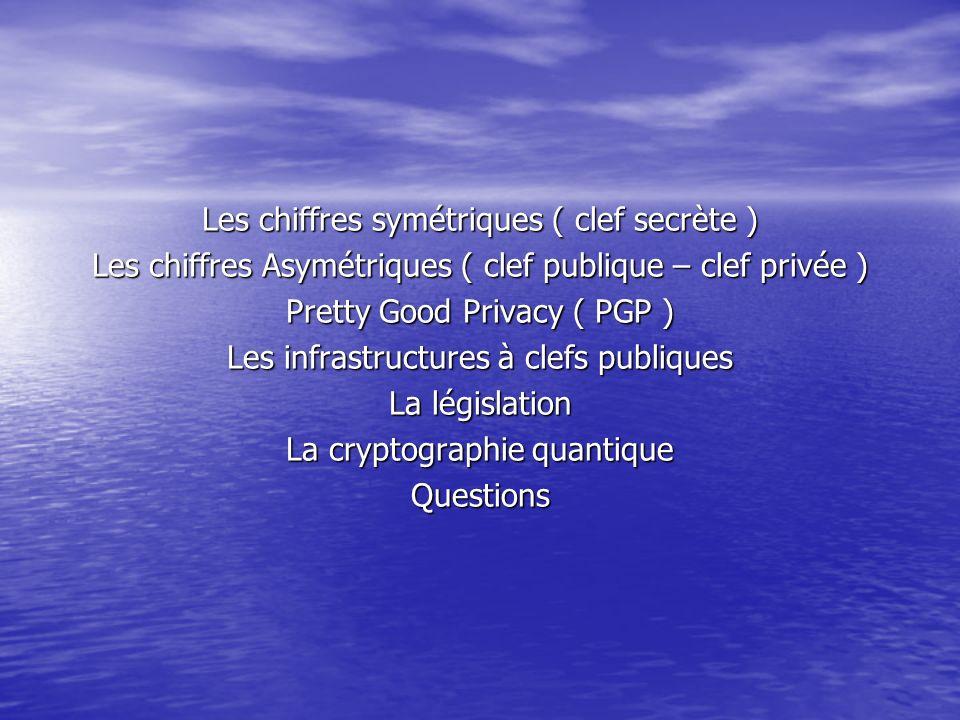 Les chiffres symétriques ( clef secrète ) Les chiffres Asymétriques ( clef publique – clef privée ) Pretty Good Privacy ( PGP ) Les infrastructures à clefs publiques La législation La cryptographie quantique Questions
