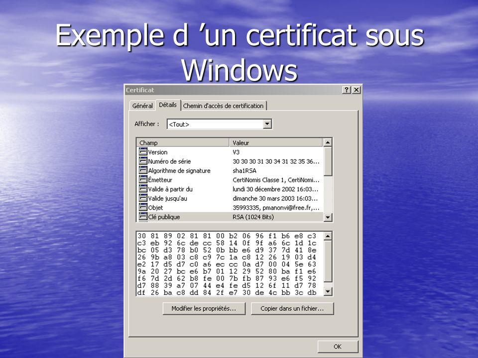 Exemple d un certificat sous Windows