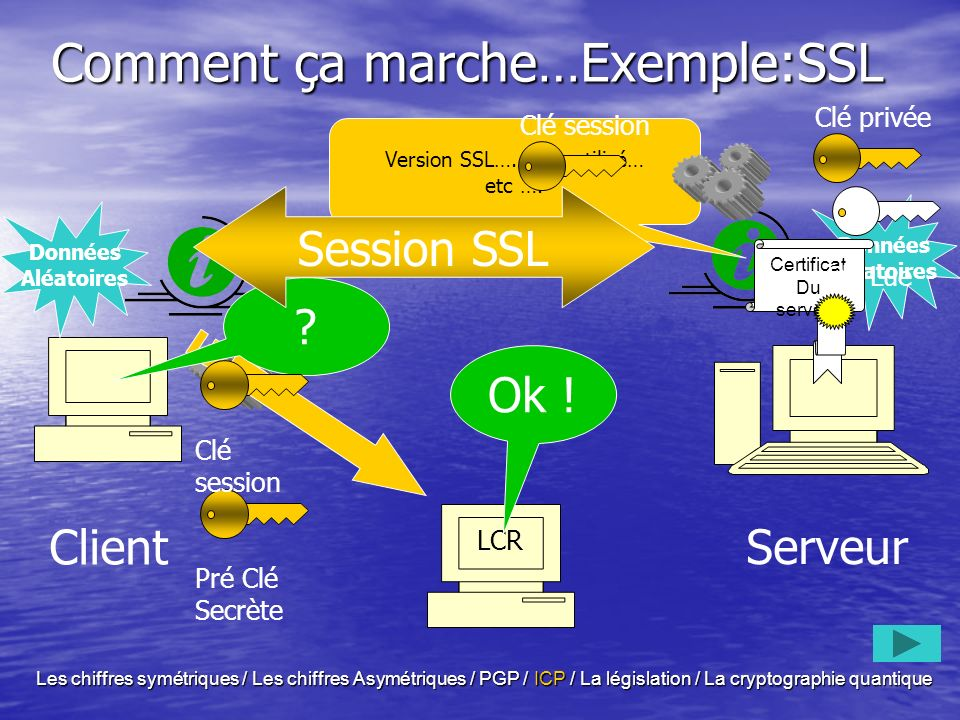 Les classes de certificats Classe 1 Classe 1 –lien entre une adresse électronique et une clef publique –Pour la signature de message électronique sans