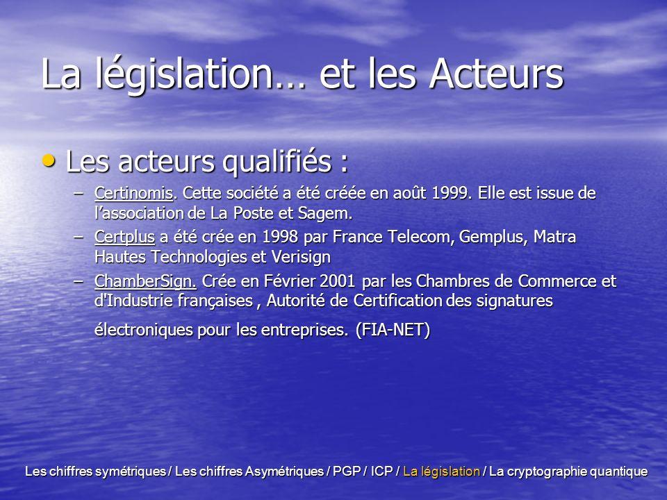 La législation …. le Problème la législation sur la signature électronique ainsi que la longueur maximale des clefs sont décidées au niveau de chaque