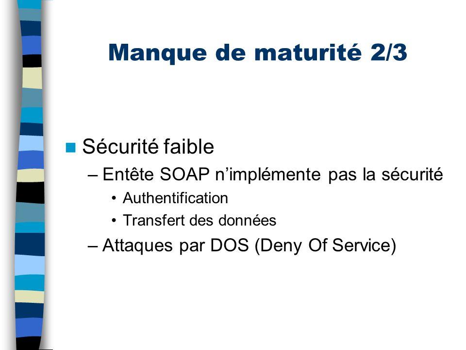 Manque de maturité 3/3 SOAP inadapté à lapproche synchrone –Temps dexécution variable –Latence du réseau –Pas dinformation davancement –Pas dinformation de « panne »