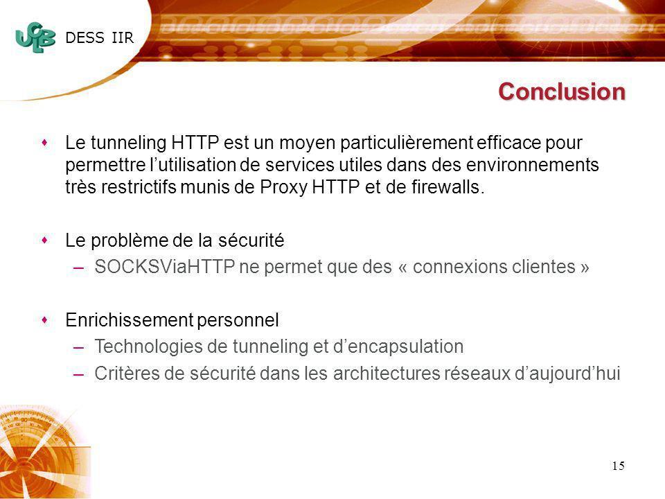DESS IIR 15 Conclusion sLe tunneling HTTP est un moyen particulièrement efficace pour permettre lutilisation de services utiles dans des environnement