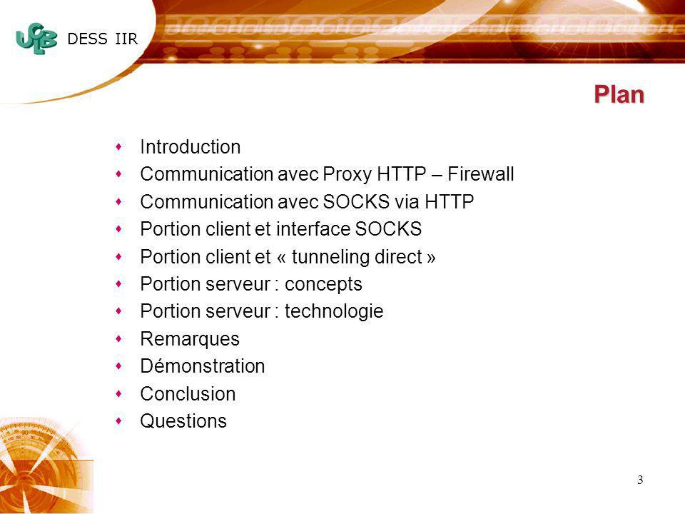 DESS IIR 3 Plan sIntroduction sCommunication avec Proxy HTTP – Firewall sCommunication avec SOCKS via HTTP sPortion client et interface SOCKS sPortion