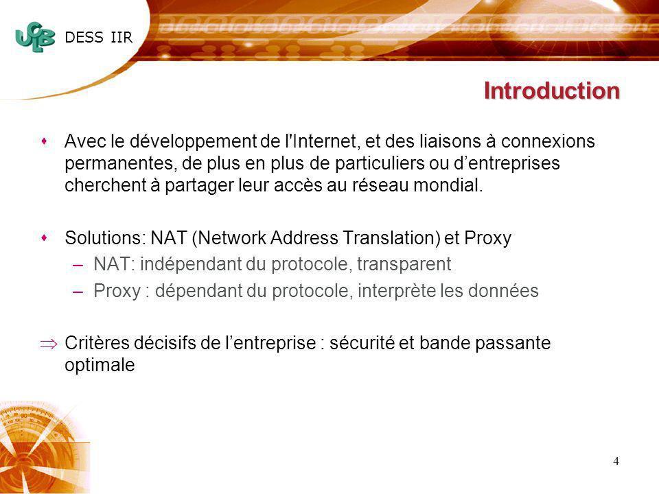 DESS IIR 5 Communication avec Proxy HTTP – Firewall sCette architecture : –nautorise que des requêtes HTTP –Interdit lutilisation des services comme le telnet ou le FTP