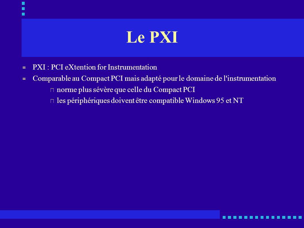 Le PXI = PXI : PCI eXtention for Instrumentation = Comparable au Compact PCI mais adapté pour le domaine de l'instrumentation • norme plus sévère que